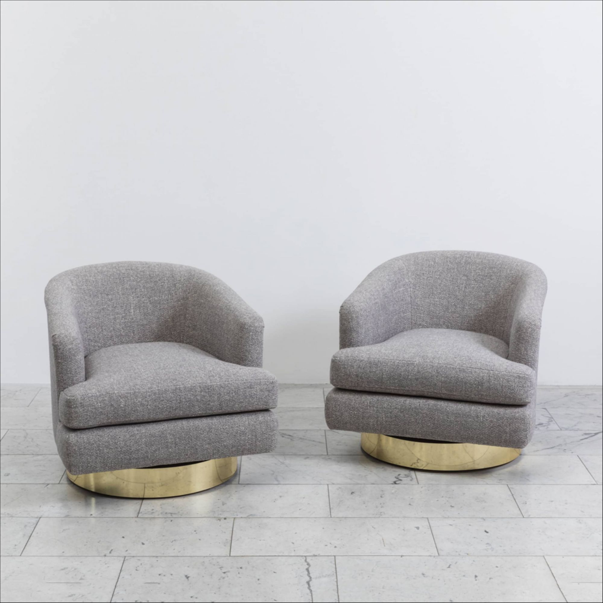 Sensational Milo Baughman Pair Of Grey Tweed Swivel Chairs With Brass Creativecarmelina Interior Chair Design Creativecarmelinacom