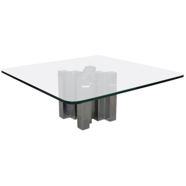Willy Rizzo Coffee Table.Huge And Massive Chrome And Glass Coffee Table Attributed To Willy Rizzo