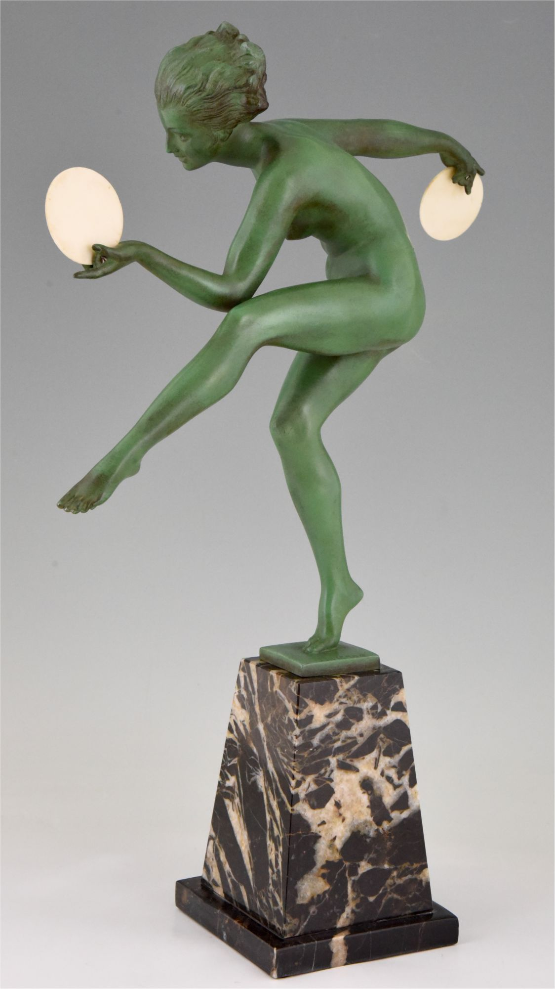 Art Deco Sculpture Nude Disc Dancer Derenne Marcel