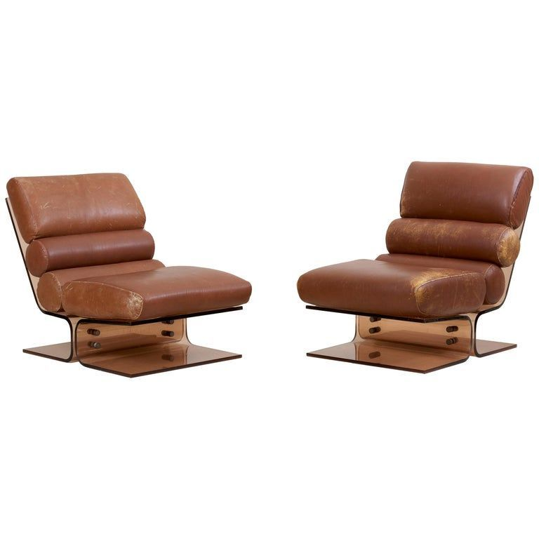 Strange Pair Of Space Age Lounge Chairs In Lucite And Leather 1960S Short Links Chair Design For Home Short Linksinfo