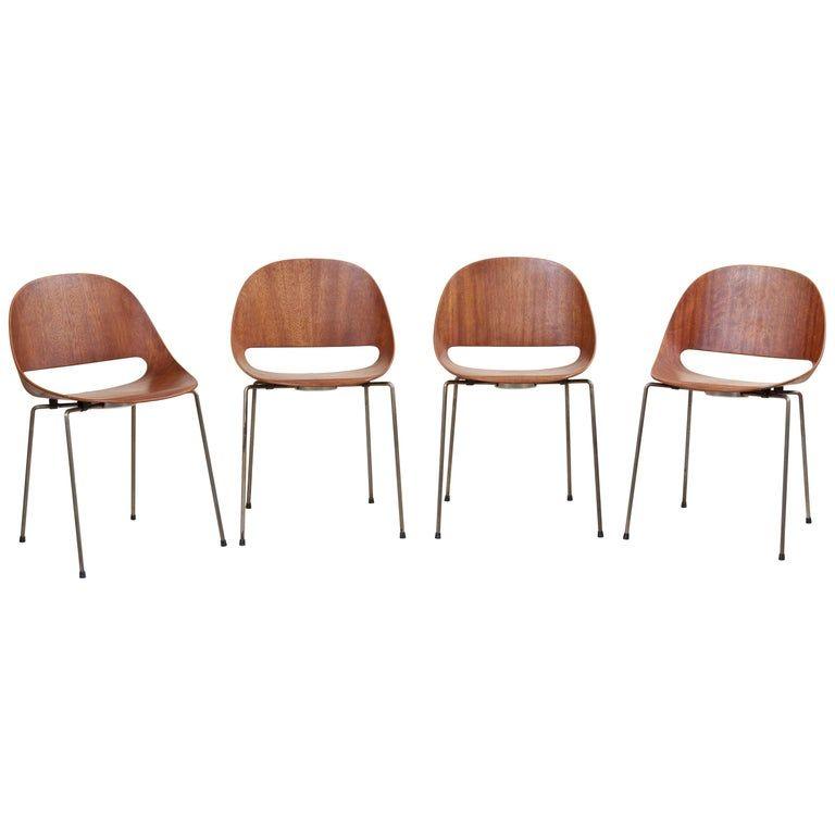 Marvelous Set Of Four Sl58 Plywood Chairs In Teak By Leon Stynen For Inzonedesignstudio Interior Chair Design Inzonedesignstudiocom