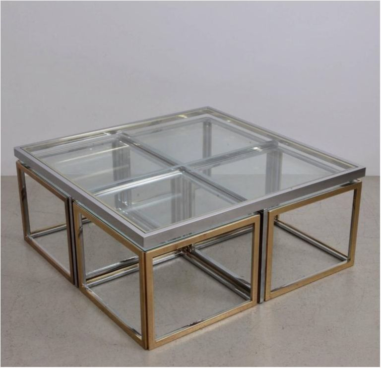 Fantastic Huge Coffee Table In Brass And Chrome With Four Nesting Creativecarmelina Interior Chair Design Creativecarmelinacom