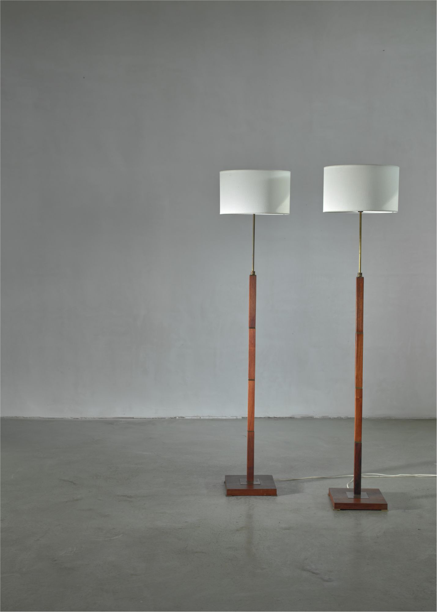 Pair Of Danish Height Adjustable Wood And Brass Floor Lamps