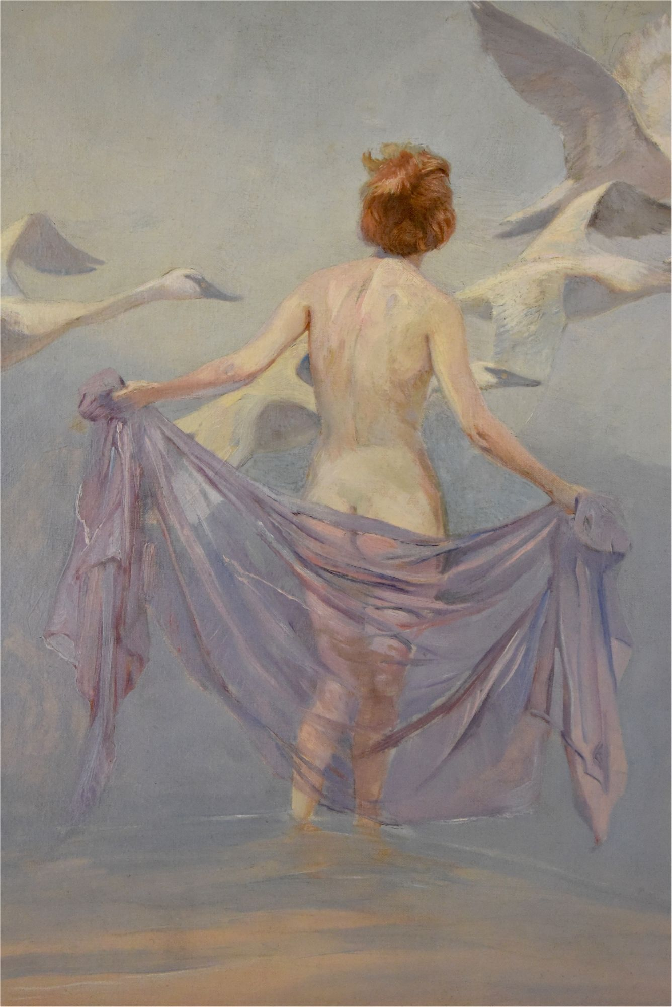 Lynn Bogue Hunt Art Deco Painting Nude With Swans 1930