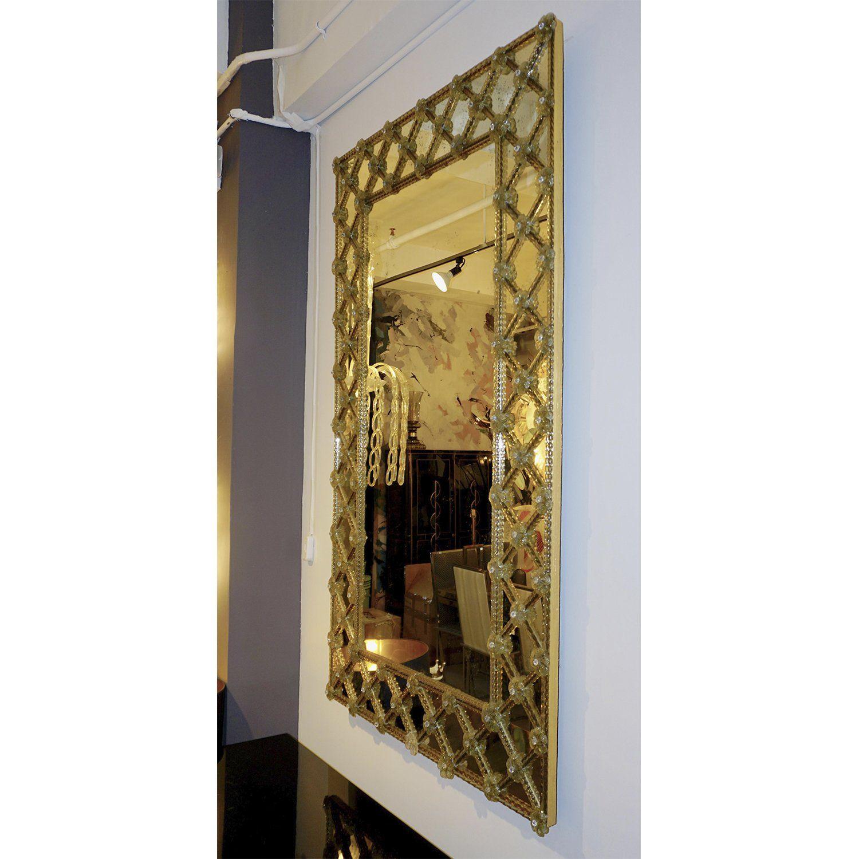 1940s Italian Antique Venetian Geometric Amber Gold Murano Glass Wall Mirror