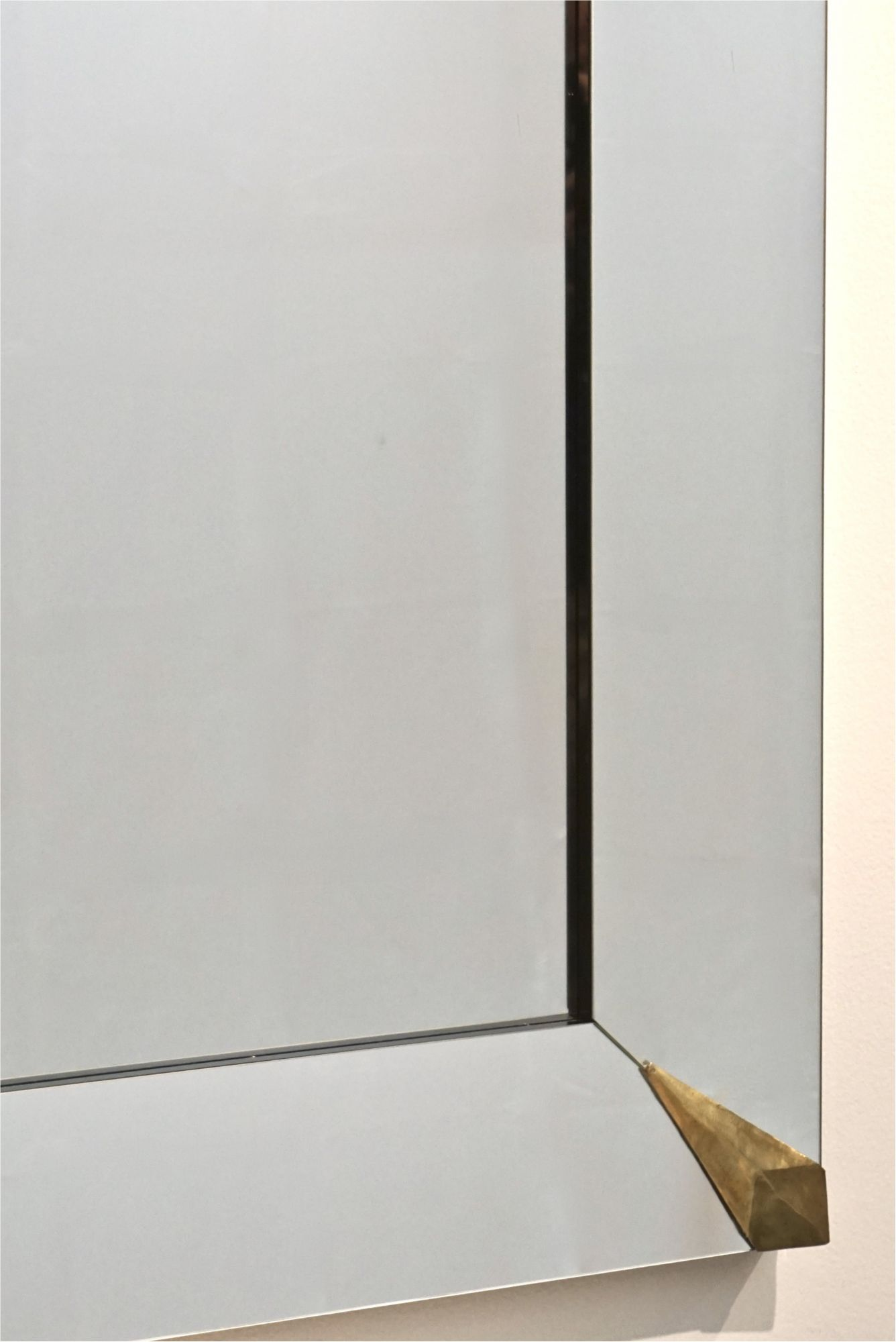1960s Italian Wall Mirror With Brass Corner Detail
