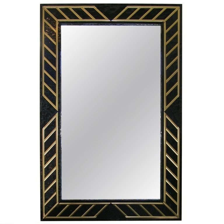 1970s Italian Art Deco Design Black And Gold Vintage Wall Mirror