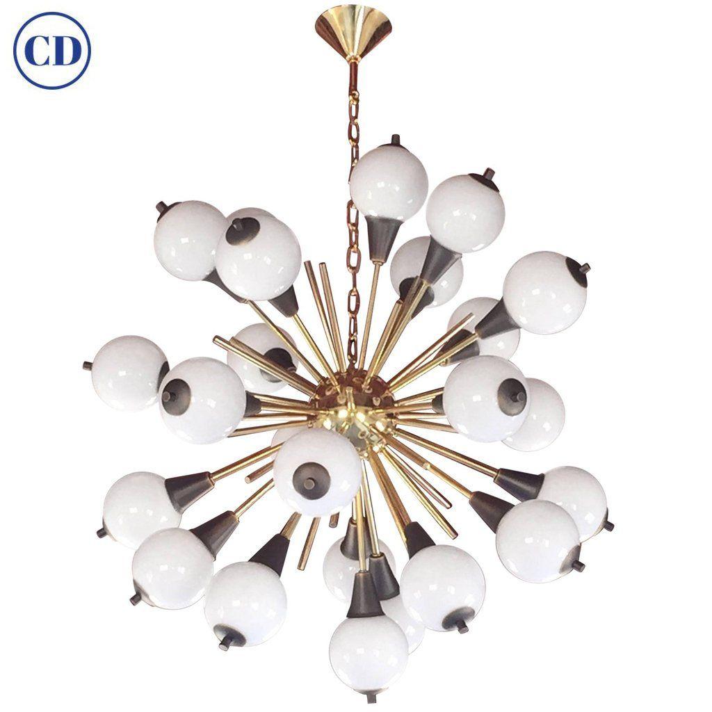 Contemporary Italian Antique Bronze And White Murano 24 Light Sputnik Chandelier